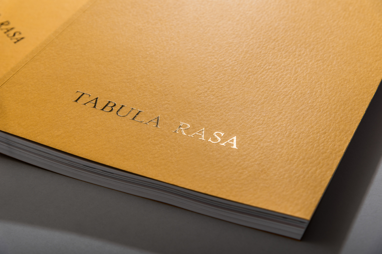 Tabula Rasa hot foil stamping detail on the cover